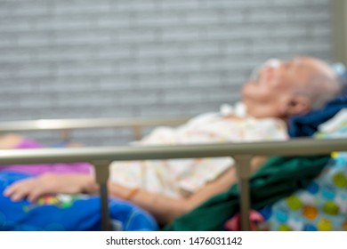 Patient bed care at home : intubation patient healthcare / blurred picture