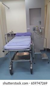 Patient bed with patient equipment