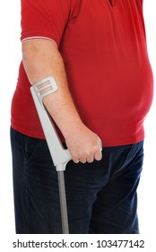Patient with crutches in front of a white background