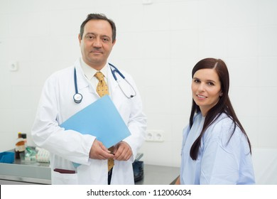 Patient and doctor together in an examination
