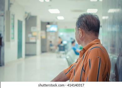 Patient elderly and many patient waiting a doctor and nurse in hospital , process in vintage style