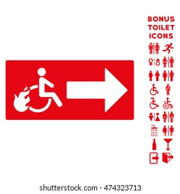 Patient Exit icon and bonus gentleman and female restroom symbols. Glyph illustration style is flat iconic symbols, red color, white background.