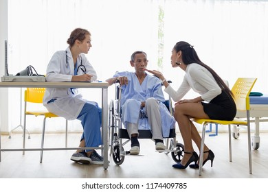 Patient family with senior man patient on Wheelchair at the Patient room in hospita