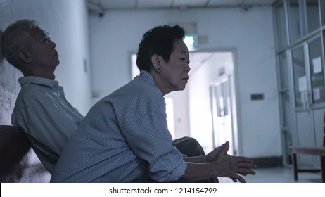 Patient family waiting for doctor in hospital sad and stress