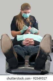 Patient getting a treatment at the dental practice
