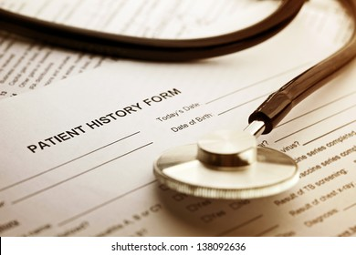 Patient history form and stethoscope. Medical concept.