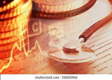 Patient history form and stethoscope with money. Medical concept