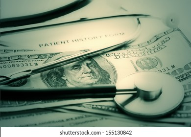 Patient history, stethoscope and dollars. Medical concept.