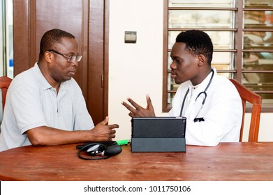 Patient listening to the doctor in the medical office. Have knowledge about people living with a disease.