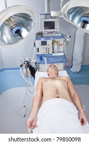Patient lying in operation room before being operated