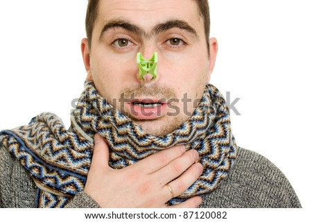 A patient man with a stuffy nose on a white background.