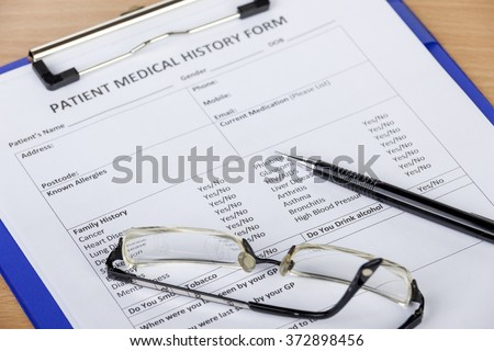 patient medical history form on clipboard stock photo edit now