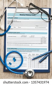 Patient medical history on a clipboard with stethoscope