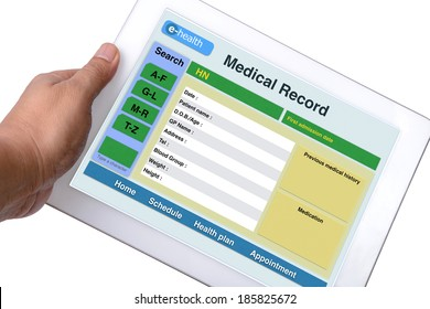 Patient medical record browse on tablet in someone hand on white background.