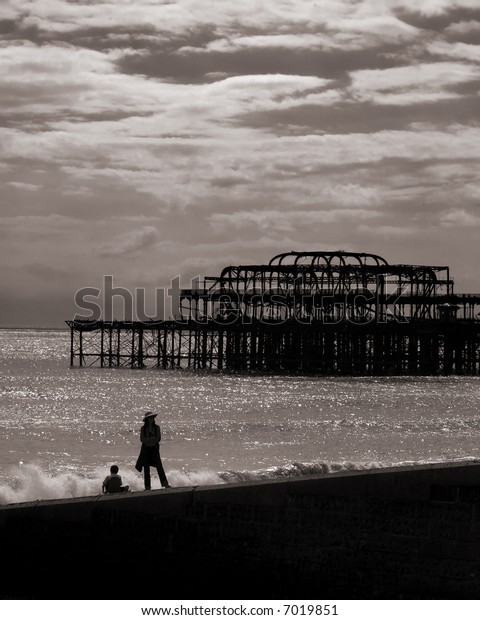 Patient mother on Brighton beach