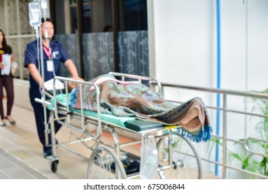 Patient  moving in the hospital blurred
