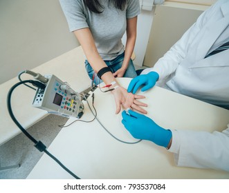 Patient nerves testing using electromyography. Medical examination. EMG