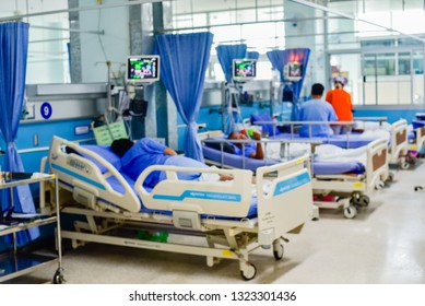 Patient on hospital bed, medical blur interior background white room ward with nursing care or healthcare recovery treatment