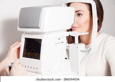 patient in ophthalmology clinic during the study of computer vision defects. Ophthalmologist. medical, health, ophthalmology concept