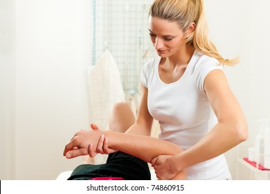 Patient at the physiotherapy doing physical exercises