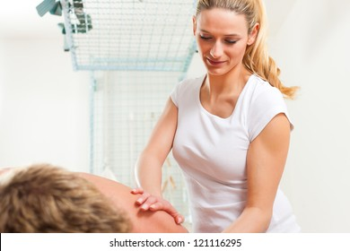 Patient at the physiotherapy gets massage or lymphatic drainage