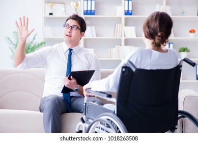 Patient visiting psychotherapist to deal with consequences