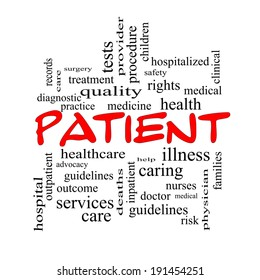 Patient Word Cloud Concept in red caps with great terms such as medicine, rights, healthcare and more.