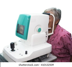patient's eyes being examined by digital retina camera