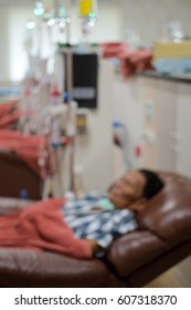 Patients taking blood dialysis in the hospital,blurred photo