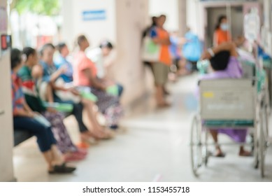 Patients waiting treatment in the waiting area at the hospital blurred.