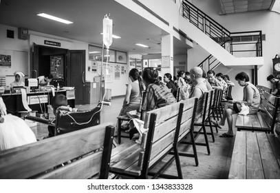 Patients were seats waiting room to receive treatment from a doctor, Backgrounds in hospital at Kluaynamthai hospital Rama 4 road Bangkok Thailand, December 29, 2000