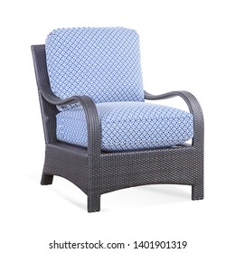 Patio Chair with Cushions Isolated on White Background. Classic Outdoor Weave Chair. Wicker Armchairs with Curved Arm and Blue Fabric Cushion Seat. Outdoor Rattan Furniture Arm Chair