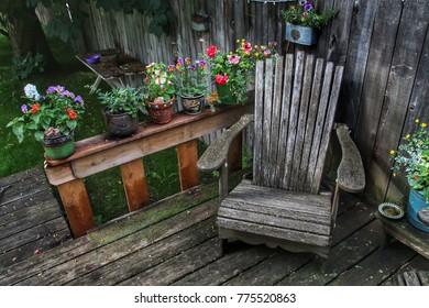 Patio chair in the garden