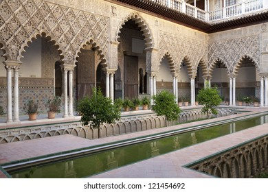 Patio de las Doncellas in Real Alcazar, Seville. One of the most beautiful landmarks in Real Alcazar Palace in Seville, Spain