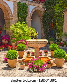 Patio with flower in the old town of Cordoba, Spain