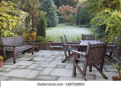 Patio and garden in suburban UK in autumn