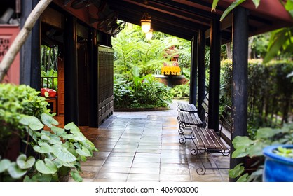 The patio of one of the houses in the Jim Thompson House museum in Bangkok, Thailand.