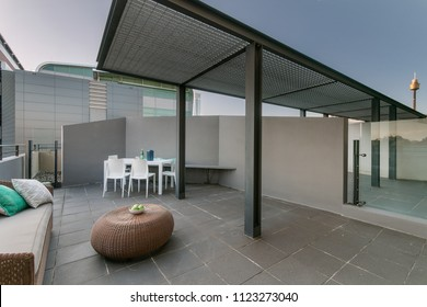 patio. place for rest and barbecue