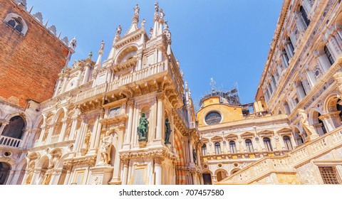 Patio of St. Mark's Cathedral (Basilica di San Marcos)and the Doge's Palace (Palazzo Ducale) , Italy.