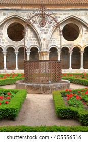 Patio surrounded by the cloister of Fontfroide Abbey, Languedoc-Roussillon, France