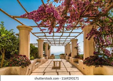 Patio to the vanishing point on the Sorrentine peninsula in Italy