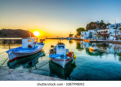 Patmos Island, Greece - September 16, 2017 : Skala Village harbour view in Patmos Island. Patmos Island is populer tourist destination in Greece.