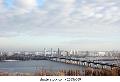 Paton bridge across the Dnieper river.  Kiev, Ukraine