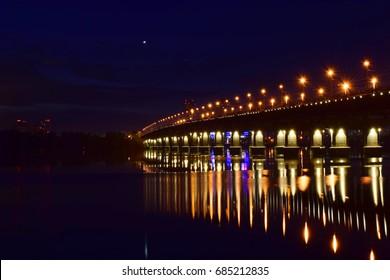 Paton Bridge lights at night, Kiev, Ukraine