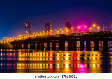 Paton Bridge. Night View. Kiev, Ukraine
