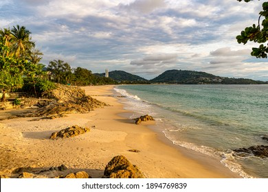 Patong beach, Phuket, shoot in the golden hour from the north. The photo was taken in May 2020, when all Phuket beaches were still closed due to the COVID 19 pandemic.