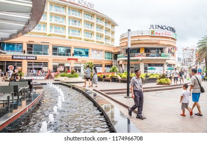 Patong, Thailand - 9th August 2018: People walking into Jung Ceylon shopping mall.  The mall serves mainly holidaymakers.