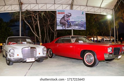 Patong, Thailand - Apr 2019: Classic retro Mercedes-Benz W108/W109 convertible with a chic red leather interior. Tuning a luxury vintage Mercedes in Phuket Bike Week on Patong beach.