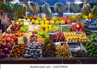 Patong, Thailand - May 1, 2015: Banzaan Market is a modern-looking Thai fresh market divided in zones: fruit and vegetable, meat, fish, dried food, cooking ingredients, flowers and take out food.