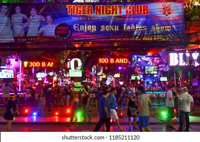 Patong, Thailand - October 13, 2014: The famous red right district Bangla Road in Patong, a bustling street at night for adult entertainment.